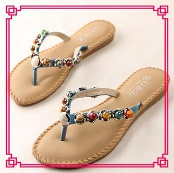 Womens Fashion Beading Sandal New Model Womens Bohemia Flat Sandal ...