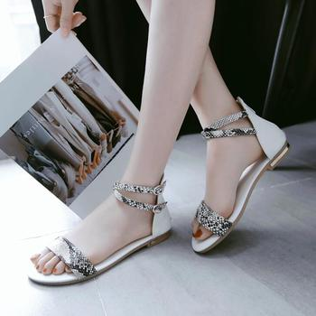 eb67d5926d97ee Fashion Women Summer Fancy Flat Heel Sandals Open Toes Strap Buckle Style Ladies  Casual Dress Shoes