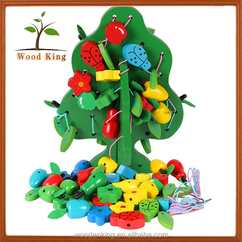 Baby Children Puzzle Wooden Beaded Toys String Fruit Trees Threading Game Learning Resources Educational Toys Children