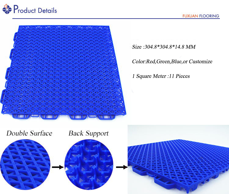 Badminton hof modulaire kunststof vloer pp grijpende futsal vloeren