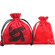Red Cotton Drawstring Bag For Jewelry With Screen Printing Logo