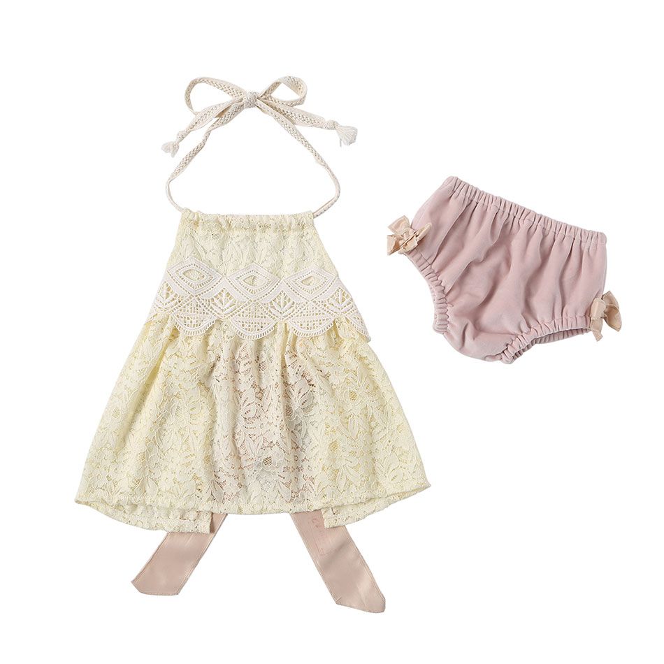 Summer Backless Belt Lace Top and Velvet Shorts <strong>Set</strong> for <strong>Baby</strong> Girls