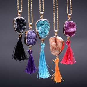 Fashion Slice Gilded Nature Crystal Stone Gold Tassel Long Druzy Necklace