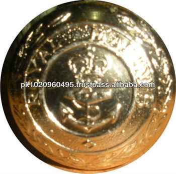 Navy Brass Buttons With Shank,Military Uniform Buttons,Made In Pakistan -  Buy Gold Military Buttons,Brass Uniform Buttons,Military Uniform Buttons