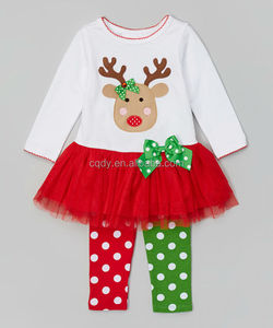 Fall Outfits for Girls Christmas Deer Outfits Dress Set Cotton Wholesale Baby Clothes