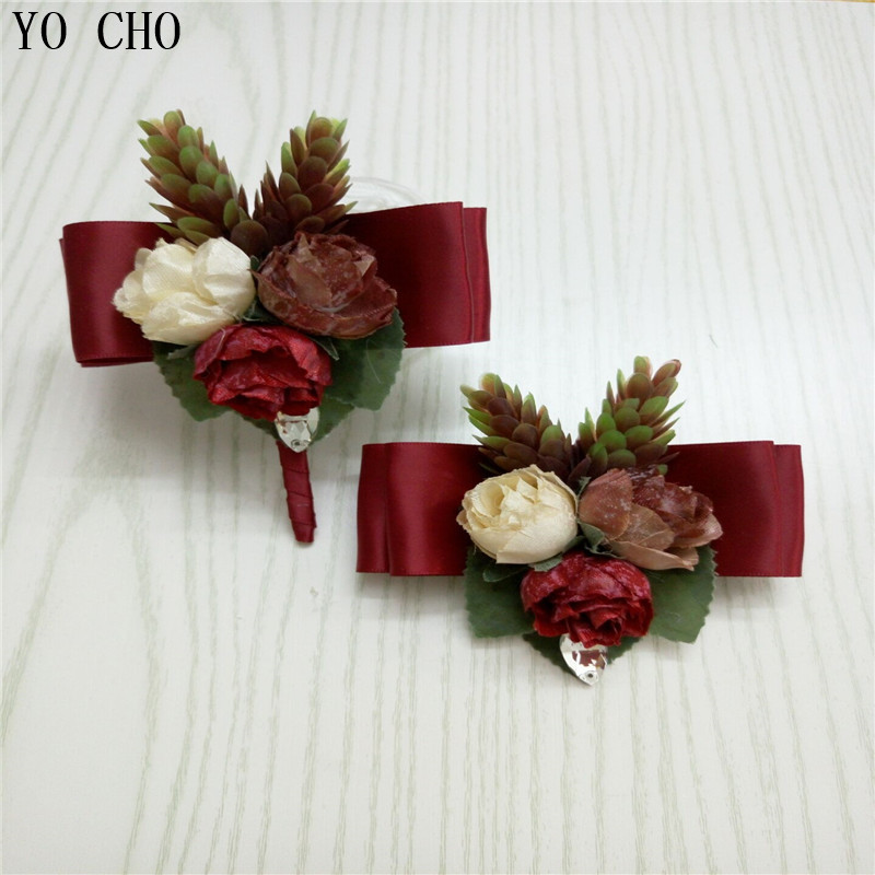 YO CHO <strong>Wedding</strong> Brooch Pins Wrist Bracelet Bridal Boutonniere Brooch Artificial Flower Corsage Leather Holder Corsage <strong>Wedding</strong>
