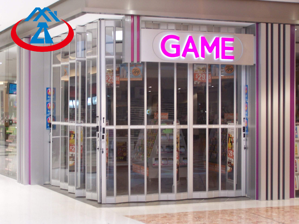 product-Zhongtai-Polycarbonate Transparent Folding Door for Commercial Store PC Security Sliding Doo