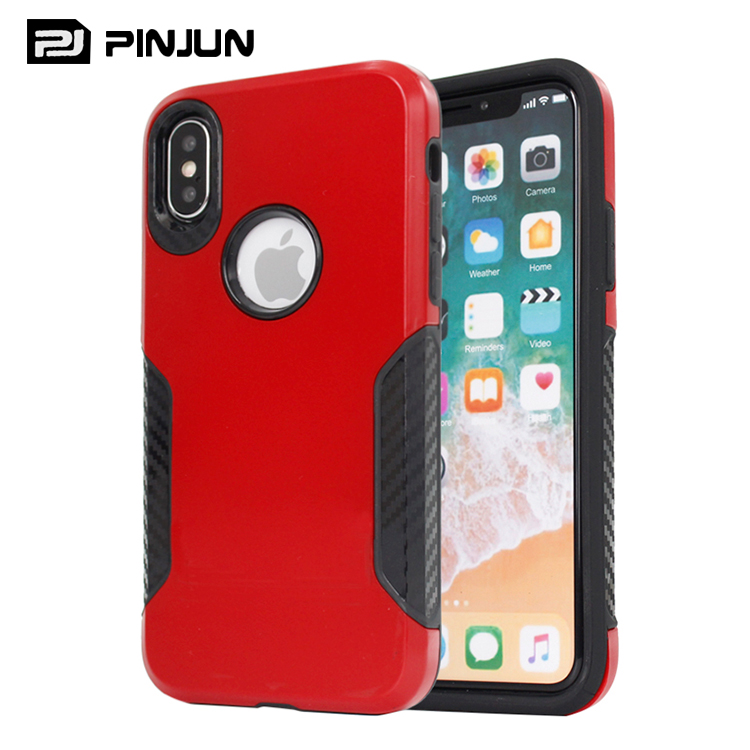 2 in 1 Customized design mobile phone back cover for iphone x combo phone case,for iphone x luxury case red