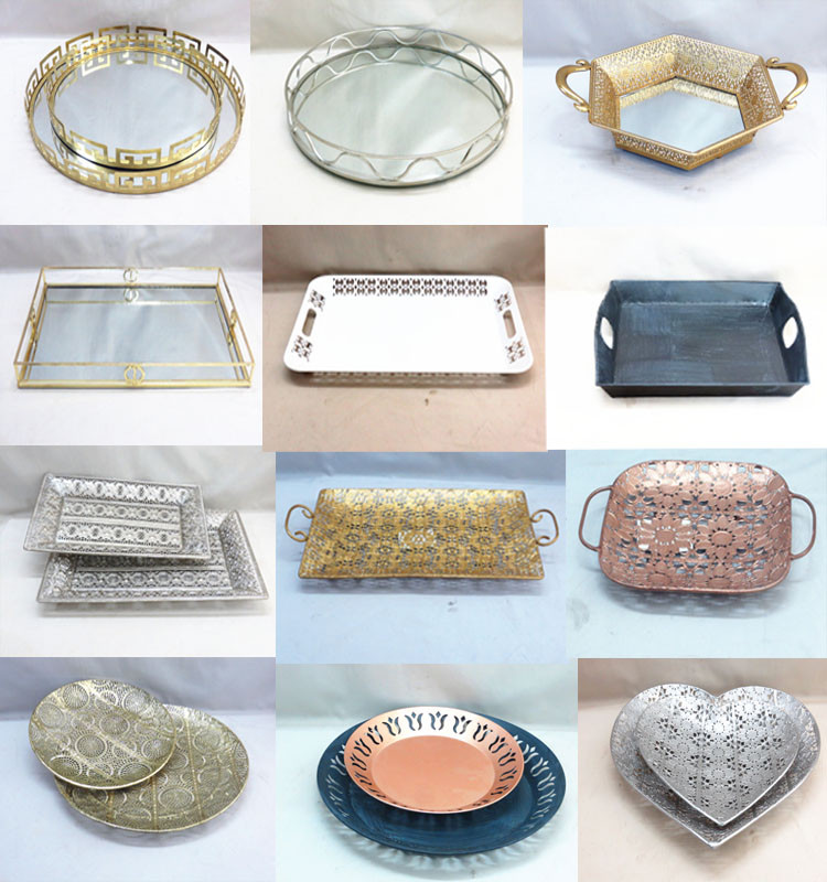Silver Metal Candy Box Trays With Bottom Mirror Decor