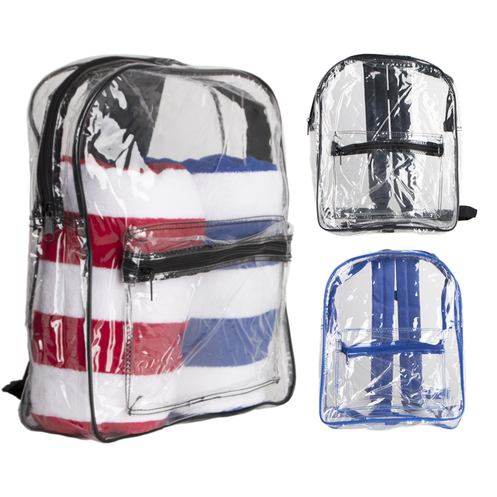 Modern Design Clear PVC Backpack Padded Straps for school or beach trip