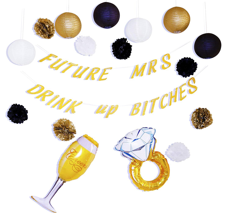 Bachelorette Party Decorations Kit by A-A Sales - Black, Gold & White Colored 17pcs Bridal Wedding Shower Set - Uniquely Designed Party Supplies - 8 Paper Poms, 6 Lanterns, 2 Foil Balloons & 1 Banner