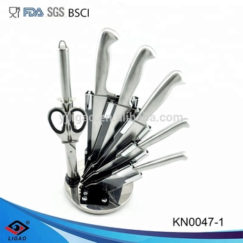 5pcs high quality kitchen knife with rotate acrylic stand