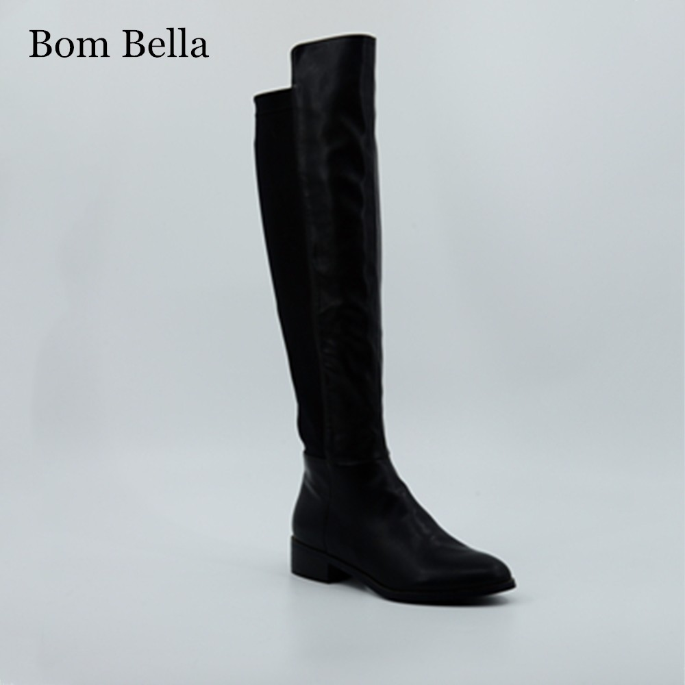 BBLA542 China manufacturer supply high quality flat heel stretch suede overknee boots for women
