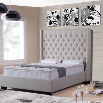 Modern Romantic Soft Headboard tufted fabric king bed furniture