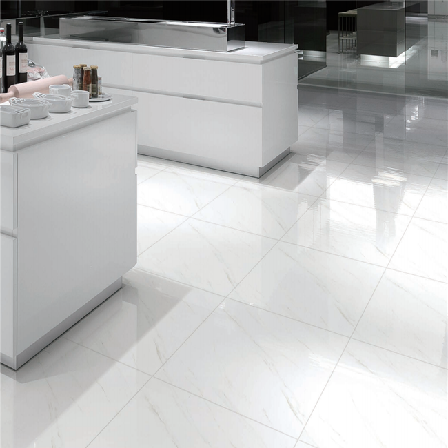 Textured White Glossy Tile Kajaria Ceramic Floor 60x60