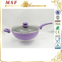 28cm deep frying pan aluminum non-stick pan with glass lid