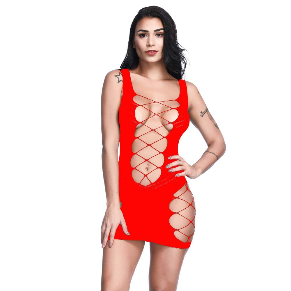 9ed7bb119 Get Quotations · Women Lace Teddy Lingerie Sleepwear Hollow Out Lady  Underwear Dress High Waisted Babydoll Mini Bodysuit Free