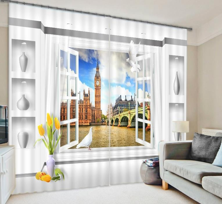 2018 Fashion Luxury Beautiful Wedding Office Living Room Blackout Blind 3D Printed Window Curtain