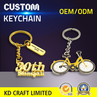 Unique design custom make metal 3D embossed bicycle shaped mobile keychains with your own logo