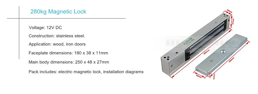 Diykit 280kg Magnetic Lock 125khz Rfid Password Keypad