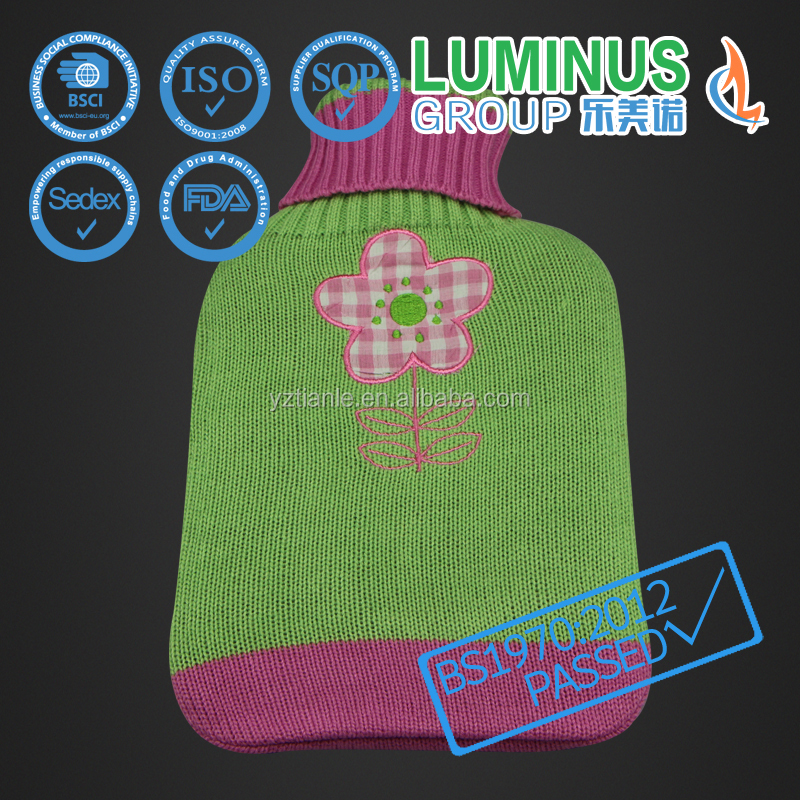 flower cute embroidery BS1970-2012 knitted medical hot water bag