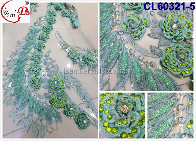 CL60321 Fashion african luxury net french embriodery lace fabric for wedding dress with big embroidery flower 2016