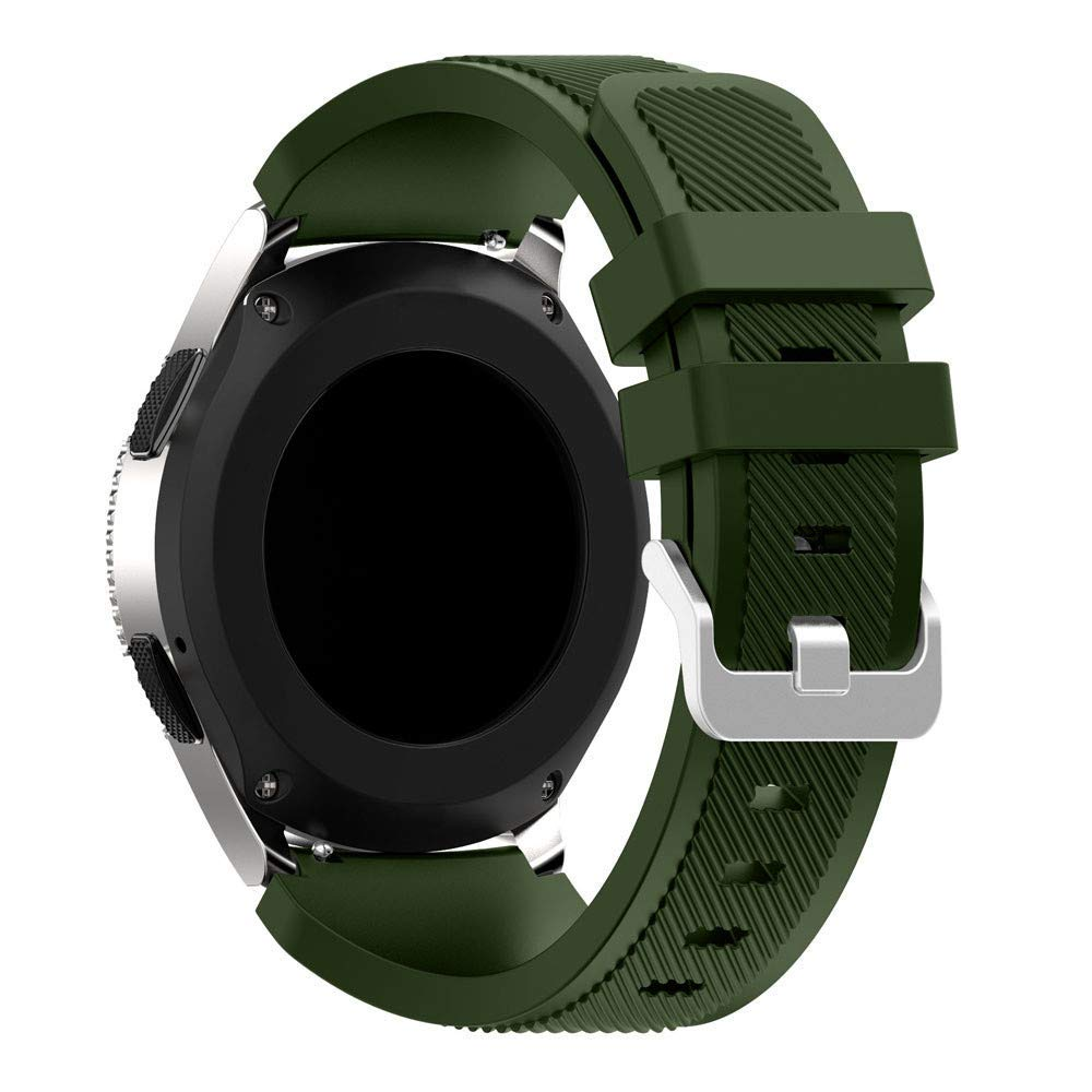 for Samsung Galaxy Watch Band Soft Silicone Band Adjustable Strap for Samsung Galaxy Watch 46mm (Army Green)