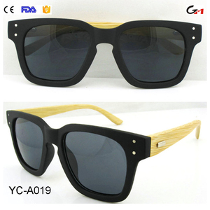 professional manufacturer UV400 CE&FDA fashion sunglasses with pc lens and black bamboo temple wooden sunglasses
