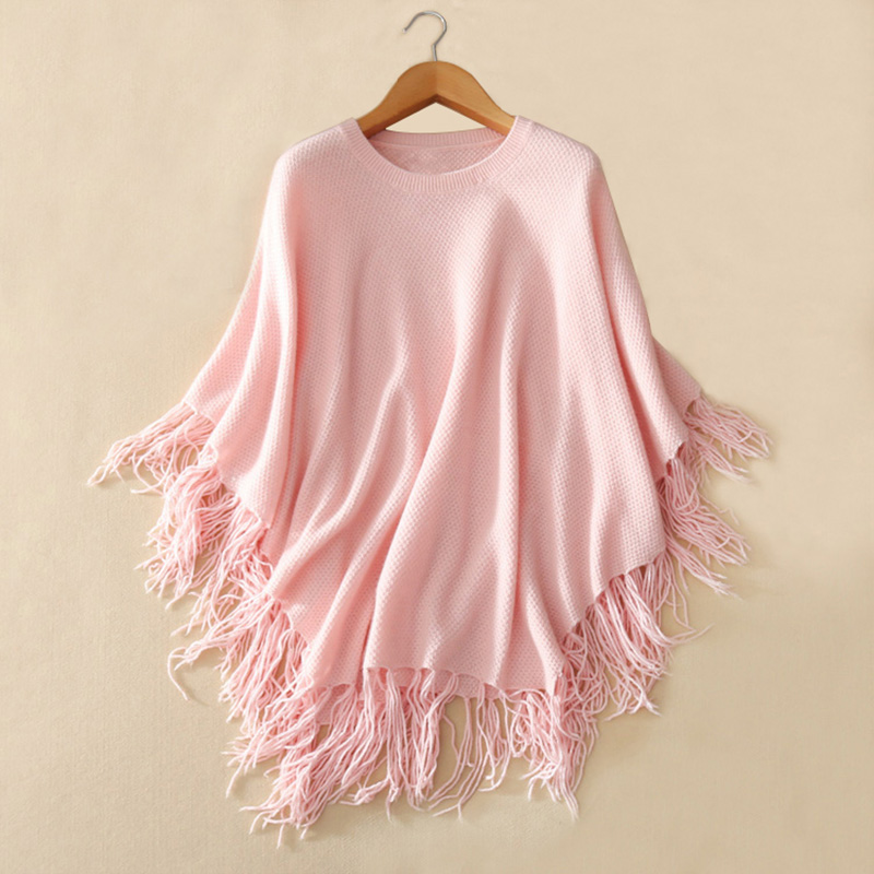 100 pure cashmere shawl women s fashion knitting long poncho scarf O neck solid color tassel