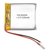 603030 520mah 3.7v titanate hard case drone enrich power lithium polymer ion battery cells