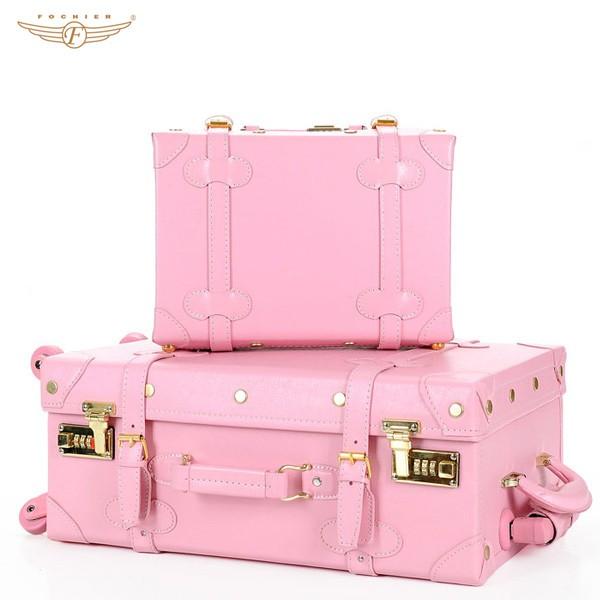 Pink vintage suitcase old looking buy vintage suitcase for What to do with vintage suitcases