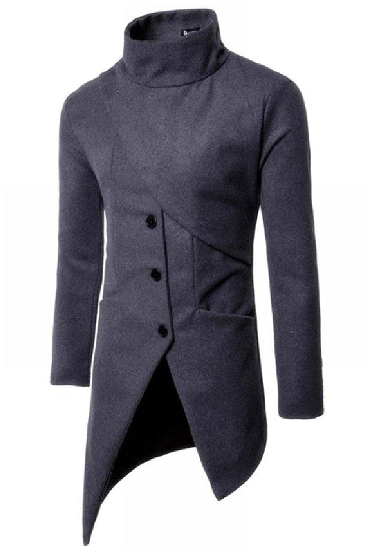 Abetteric Mens Irregular Hem Wool-blend Windbreak Outwear Turtleneck Coat
