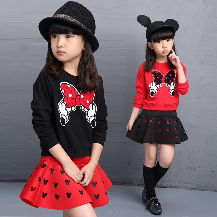 Korean version embroidered skirt set new model frocks dresses girls spring kids clothing sets