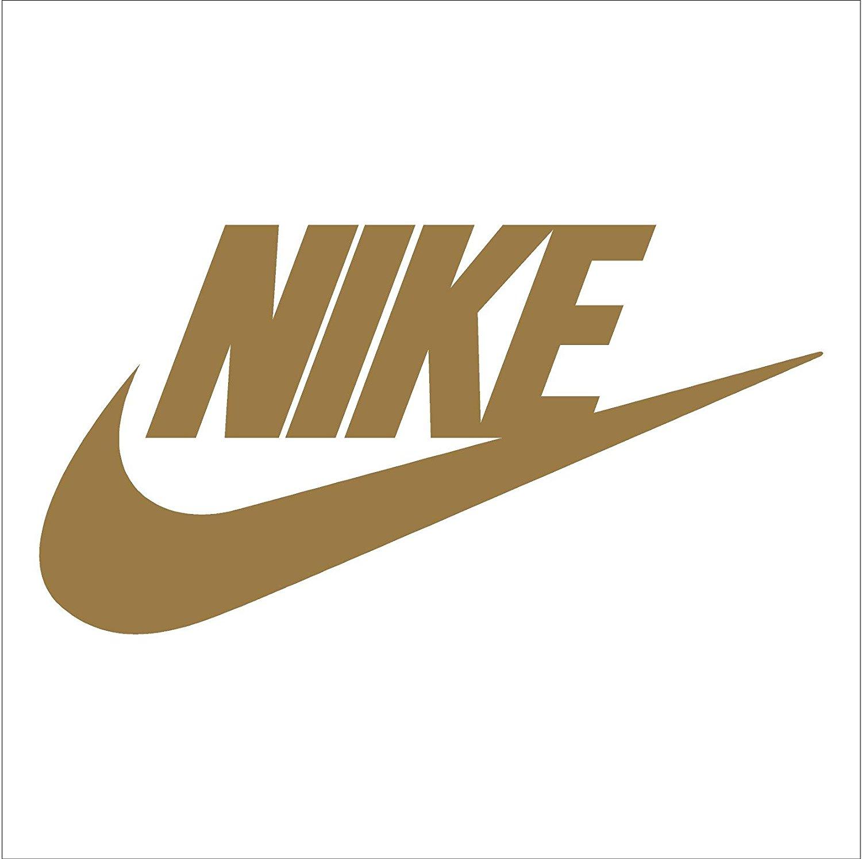Nike swoosh logo vinyl sticker decal gold 4 inch