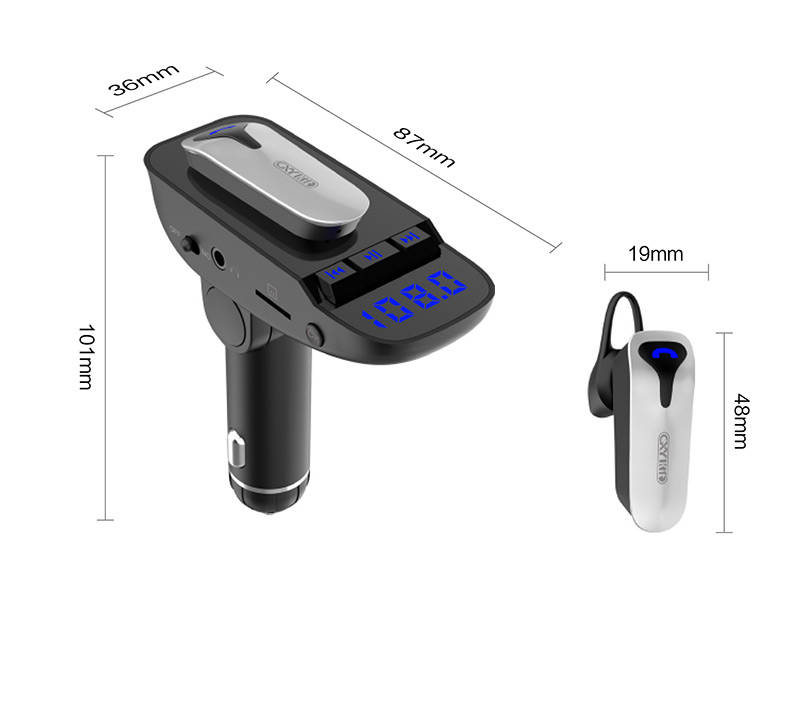 2018 wholesale bluetooth handsfree car kit FM Transmitter Dual USB Car Charger