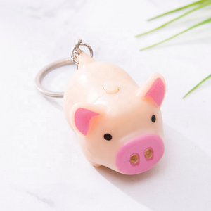 Wholesale LED Cartoon Animal Keychain Cute pig Keyring with Sound LED Flashlight Toy Keychain
