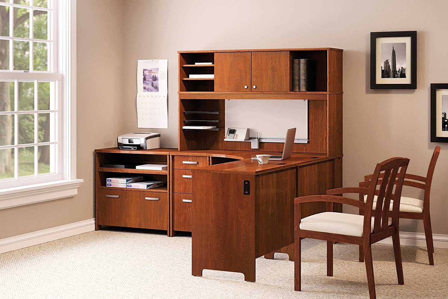 "Bush L Shaped Desk W/Hutch Natural Cherry Finish Desk: 30 1/4""H X 58""W X 74 1/2""D Hutch: 36 3/4""H X 58""W X 14 3/4""D Pedestal: 30 1/4""H X 16""W X 20""D - Hansen Cherry"