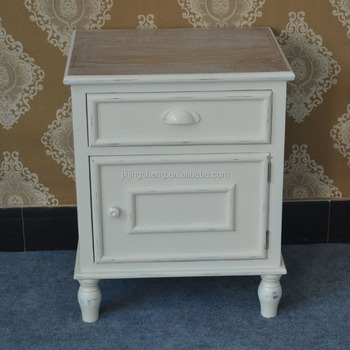Shabby Chic Ivory Wash Bedside Tables Single Drawer Cabinet Antique Country  Style High Quality