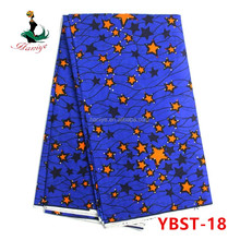 Haniye YBST-18 royal blue fancy traditional holland wax fabric with star and stones for dress/high quality wax prints fabric