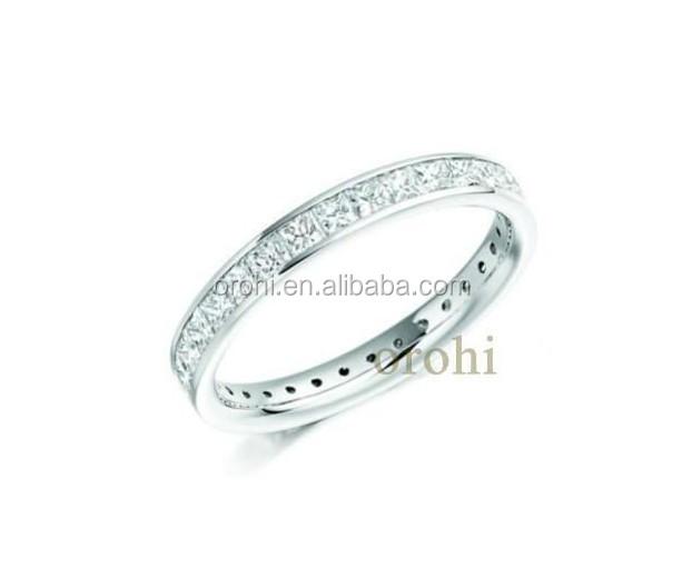 Simple Design 14k White Gold Full Eternity Diamond Wedding Ring ...