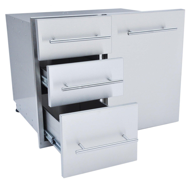 "SUNSTONE DE-LPCTD30 Designer Series Raised Style Liquid Propane Combo Triple Drawer, 30"", Stainless Steel"