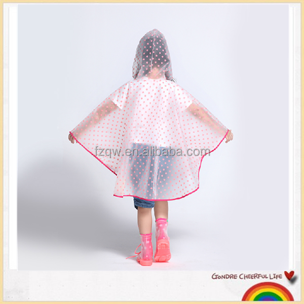 Thicker pull over children clear plastic raincoat poncho