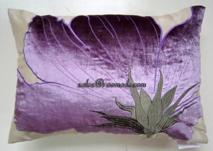 Purple Cushion Floral Pillow Applique Embroidered Velvet