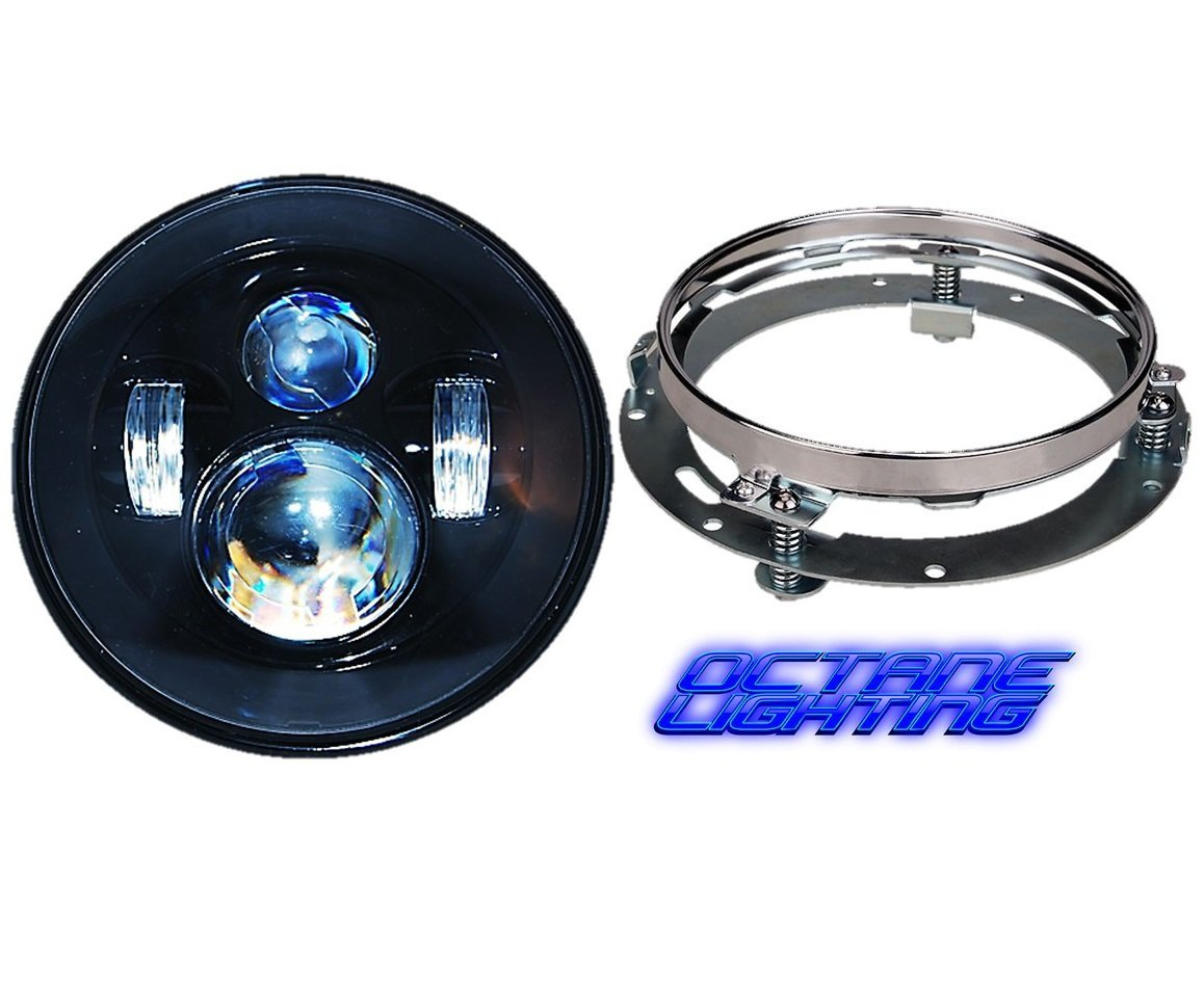 "OCTANE LIGHTING 7"" Motorcycle Black Projector Daymaker HID LED Light Bulb Headlight For Harley"