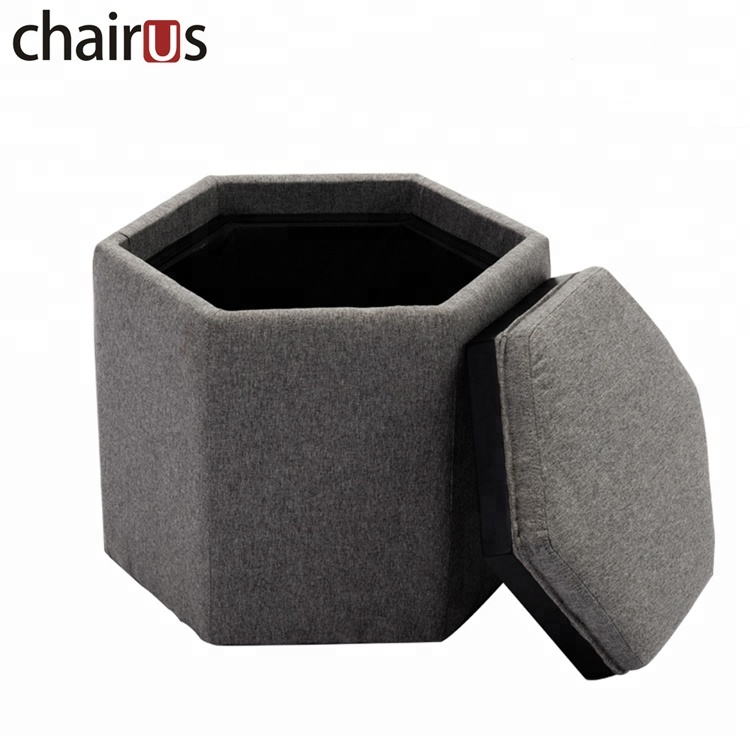 Hexagon Storage Stool Wooden Pouf Box Fabric Cube Cane Cheap Wire Fancy Coffee Table Ottoman