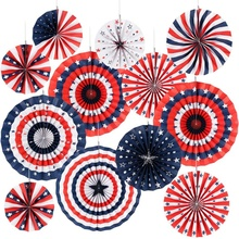Nicro 12 PCS Independence Day 4th Luglio Patriottica di <span class=keywords><strong>Carta</strong></span> Del Partito Decorazioni Fan Set
