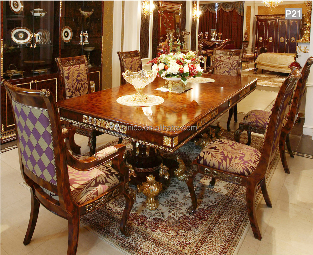 French Baroque Style Mahogany Dining Table Palace Solid Wood Carving Retangular For 6 People