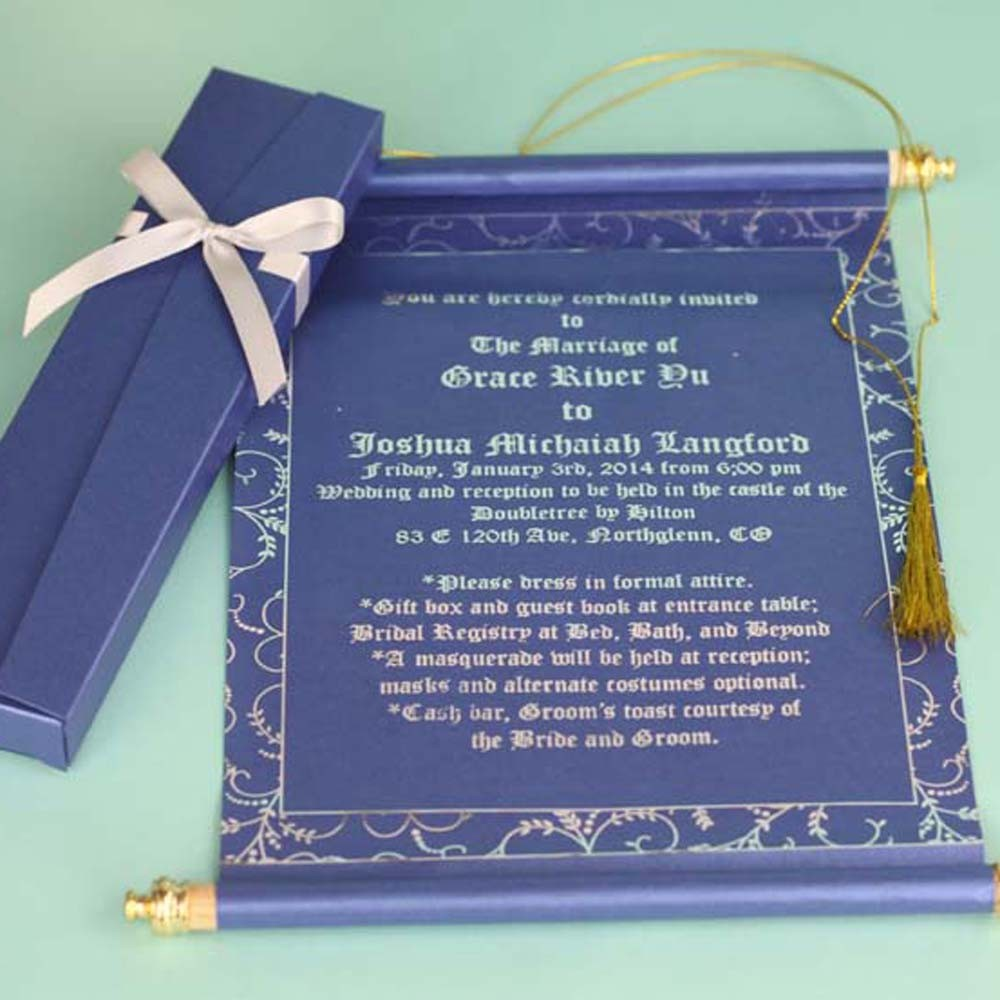 Customized Color Foil Text Royal Scroll Wedding Invitations Card Luxury View Scroll Wedding Invitations Card Luxury Fashion Cards Product Details