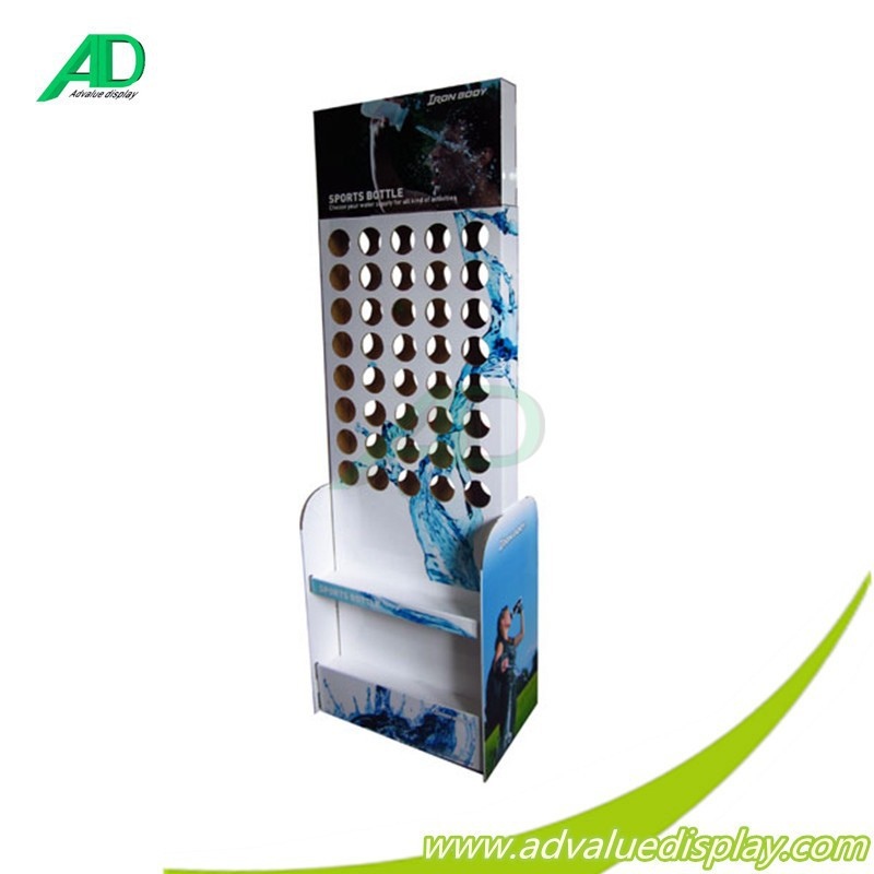 drinking free standing with slot good cardboard display rack for water juice liquor