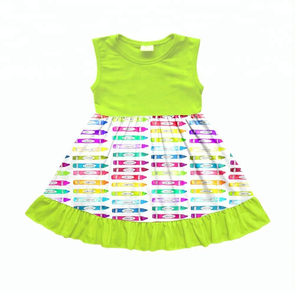 940bedb35d0a1 Wholesale children clothing manufacturers china back to school crayons baby  dress girls